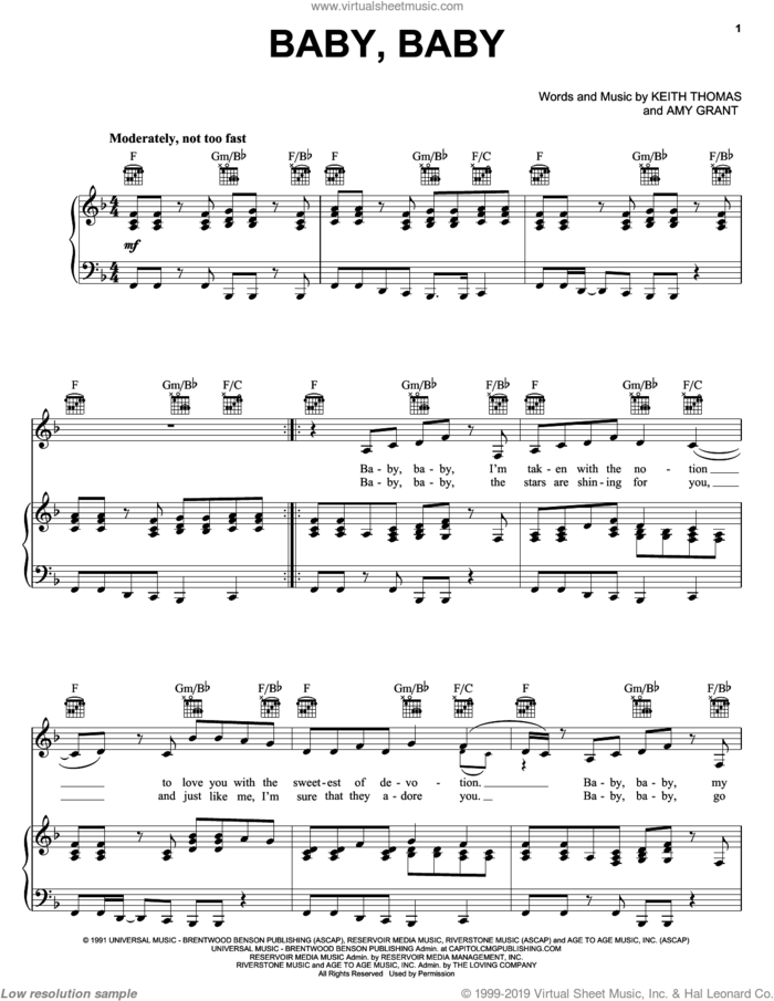 Baby Baby sheet music for voice, piano or guitar by Amy Grant and Keith Thomas, intermediate skill level