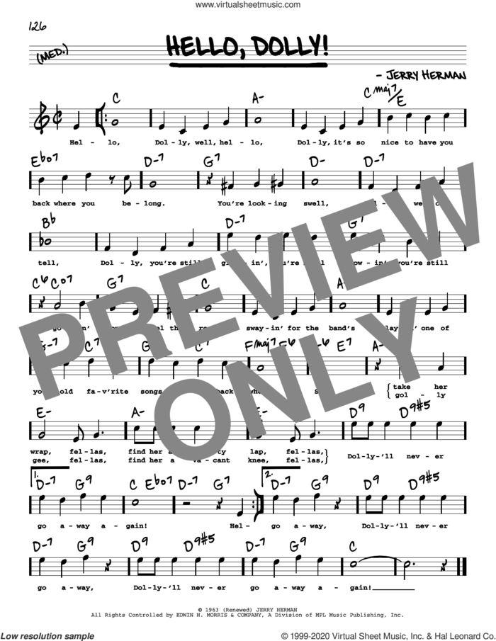 Hello, Dolly! (High Voice) sheet music for voice and other instruments (high voice) by Louis Armstrong and Jerry Herman, intermediate skill level