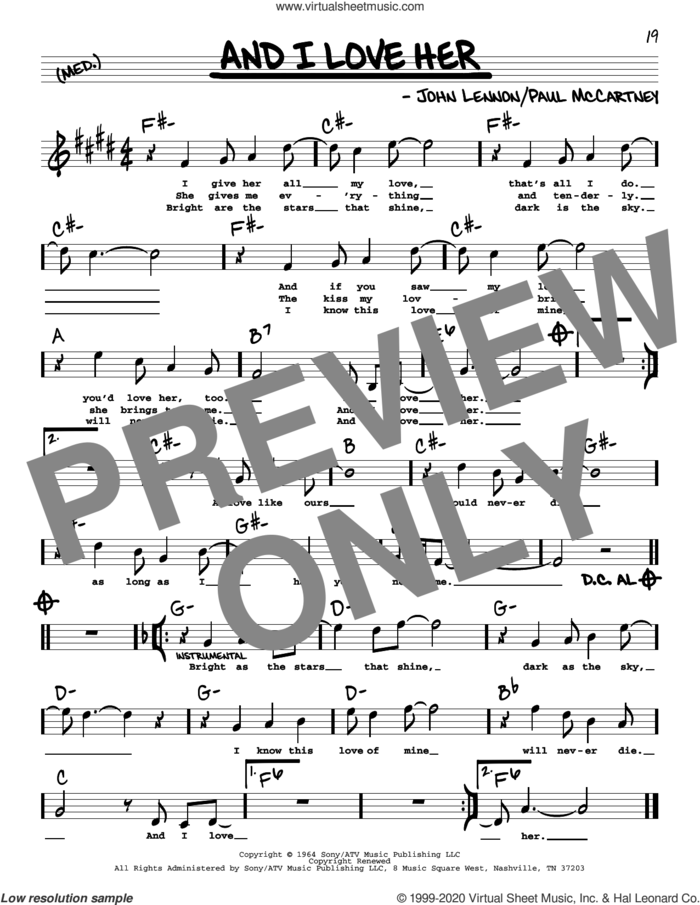 And I Love Her (High Voice) sheet music for voice and other instruments (high voice) by The Beatles, John Lennon and Paul McCartney, intermediate skill level