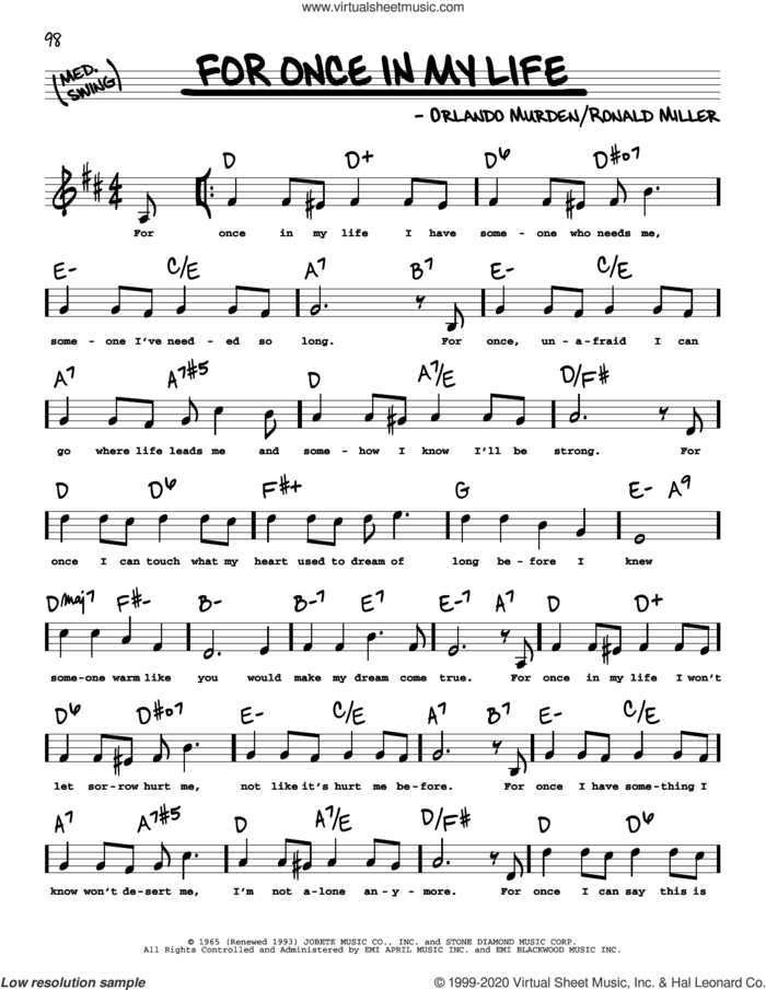 For Once In My Life (High Voice) sheet music for voice and other instruments (high voice) by Stevie Wonder, Orlando Murden and Ron Miller, intermediate skill level