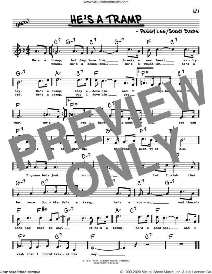 He's A Tramp (High Voice) sheet music for voice and other instruments (high voice) by Peggy Lee and Sonny Burke, intermediate skill level