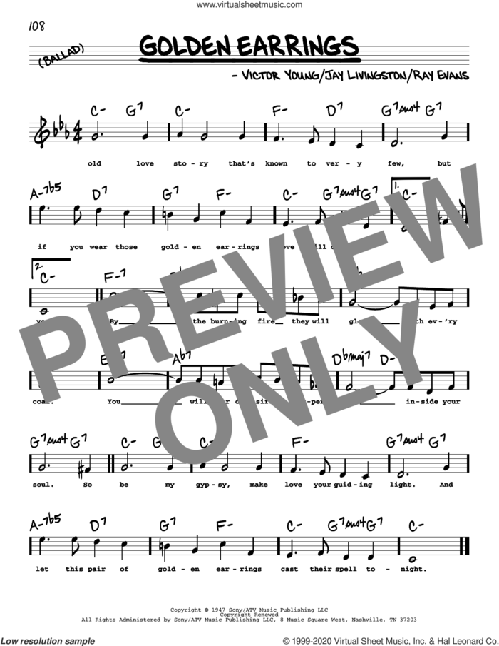 Golden Earrings (High Voice) sheet music for voice and other instruments (high voice) by Peggy Lee, Jay Livingston, Ray Evans and Victor Young, intermediate skill level