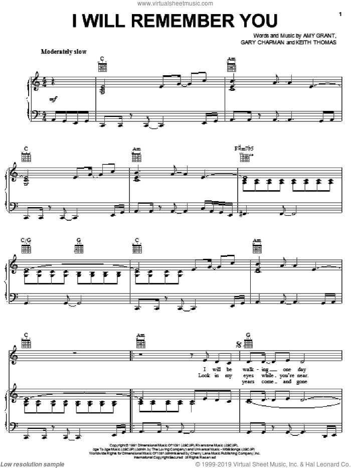 I Will Remember You sheet music for voice, piano or guitar by Amy Grant, Gary Chapman and Keith Thomas, intermediate skill level