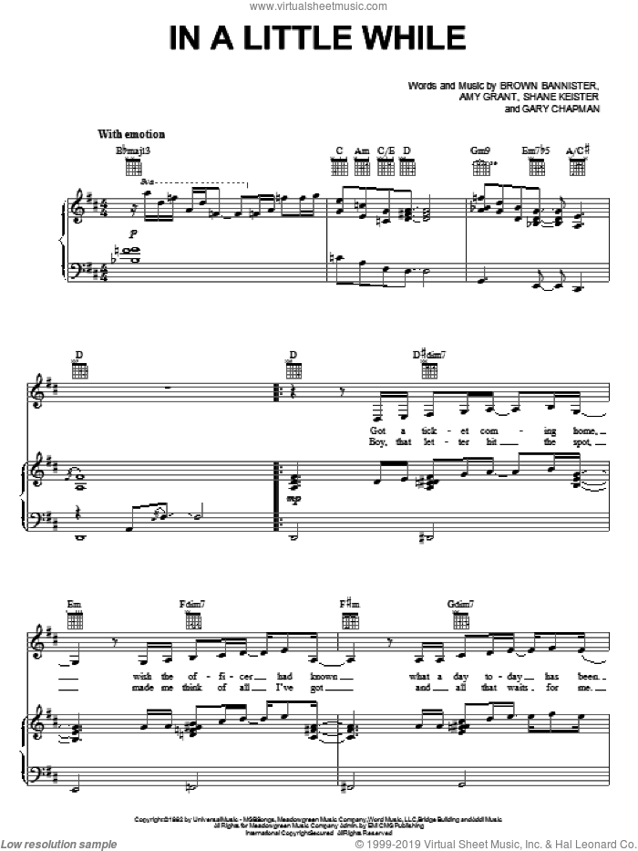 In A Little While sheet music for voice, piano or guitar by Amy Grant, Brown Bannister, Gary Chapman and Shane Keister, intermediate skill level