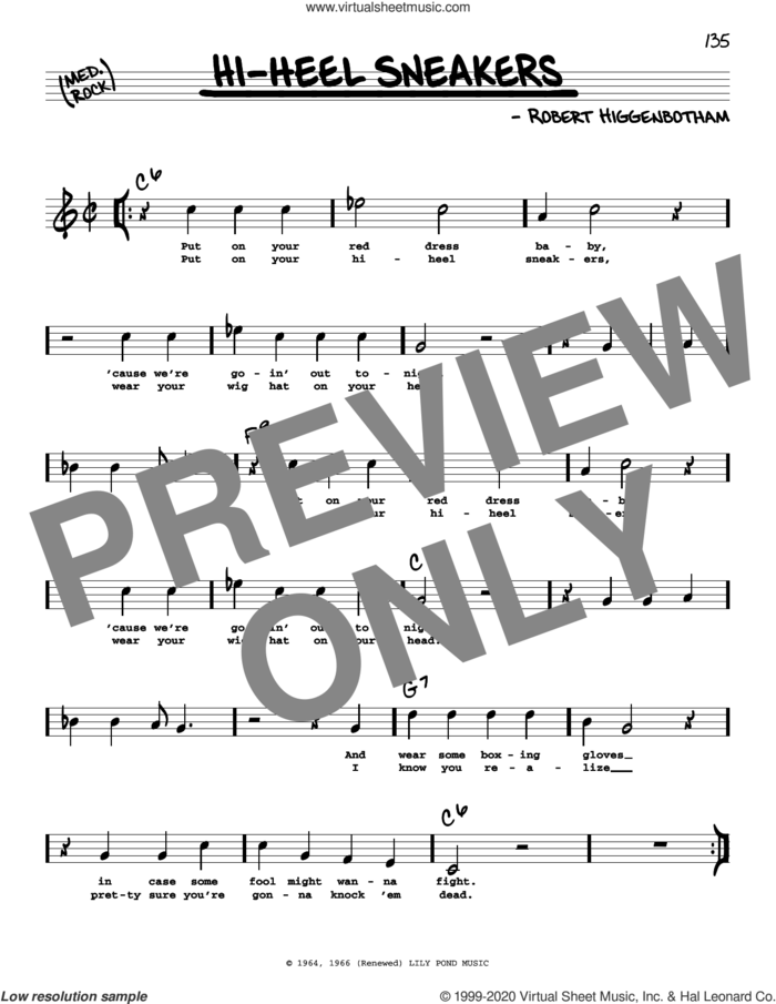 Hi-Heel Sneakers (High Voice) sheet music for voice and other instruments (high voice) by Tommy Tucker and Robert Higginbotham, intermediate skill level