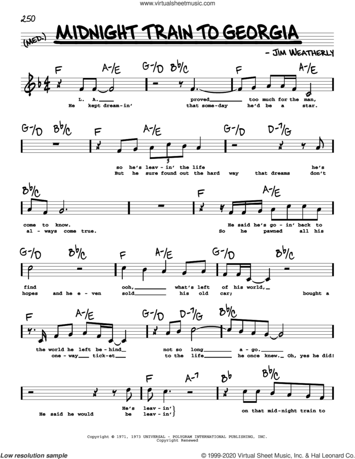Midnight Train To Georgia (High Voice) sheet music for voice and other instruments (high voice) by Gladys Knight & The Pips and Jim Weatherly, intermediate skill level