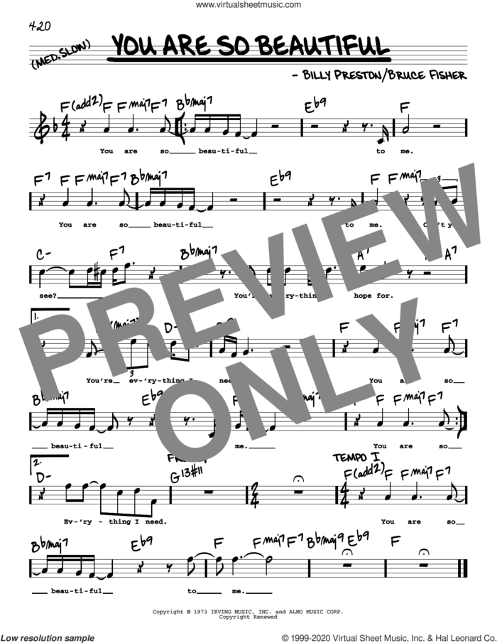 You Are So Beautiful (High Voice) sheet music for voice and other instruments (high voice) by Joe Cocker, Billy Preston and Bruce Fisher, intermediate skill level