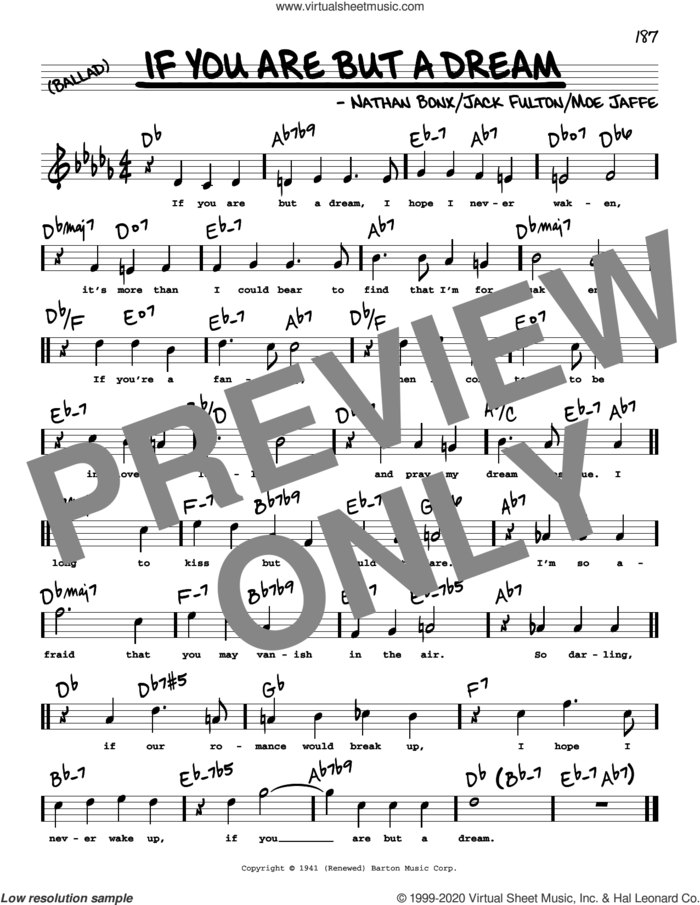 If You Are But A Dream (High Voice) sheet music for voice and other instruments (high voice) by Frank Sinatra, Sarah Vaughan, Jack Fulton, Moe Jaffe and Nathan Bonx, intermediate skill level