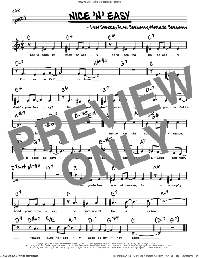 Nice 'n' Easy (High Voice) sheet music for voice and other instruments (high voice) by Frank Sinatra, Barbra Streisand, Alan Bergman, Lew Spence and Marilyn Bergman, intermediate skill level