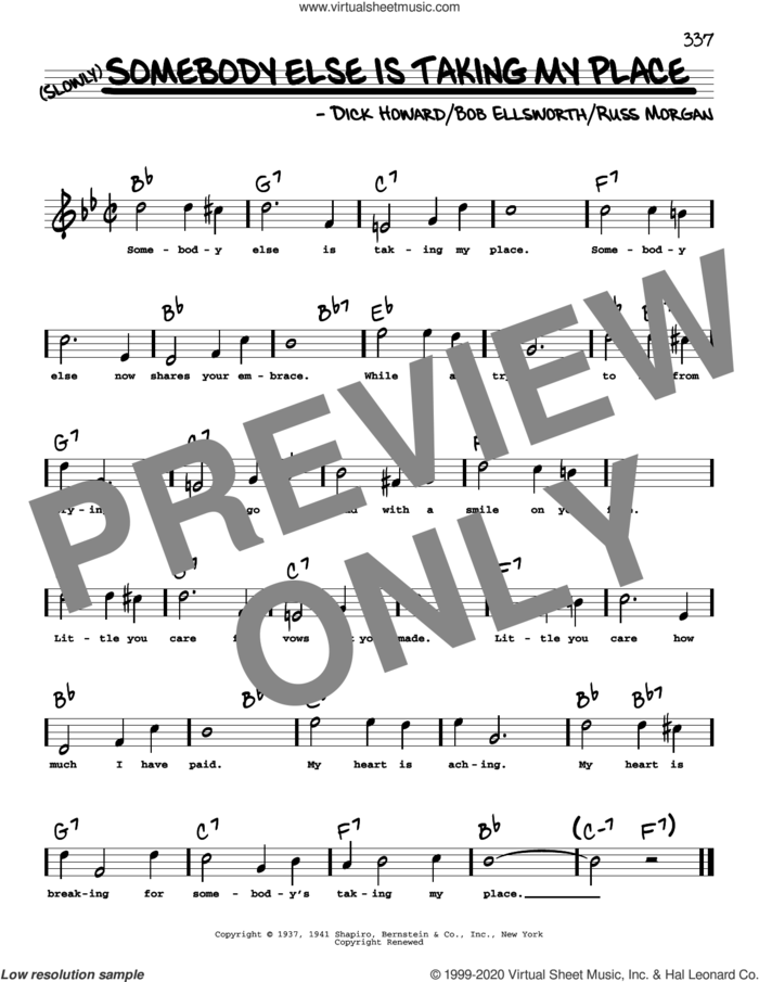 Somebody Else Is Taking My Place (High Voice) sheet music for voice and other instruments (high voice) by Peggy Lee, Bob Ellsworth, Dick Howard and Russ Morgan, intermediate skill level