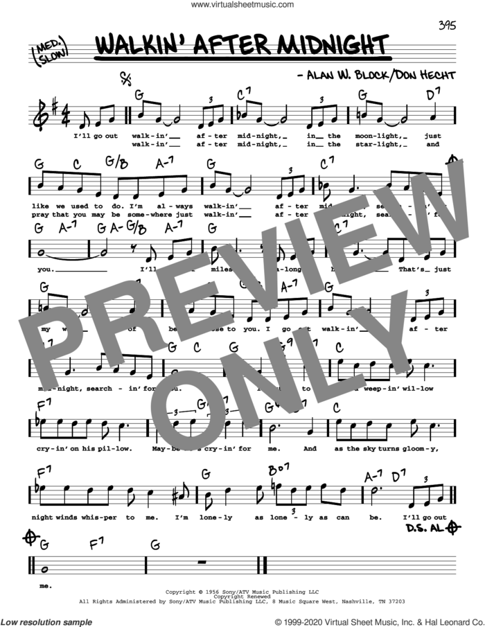 Walkin' After Midnight (High Voice) sheet music for voice and other instruments (high voice) by Patsy Cline, Alan W. Block and Don Hecht, intermediate skill level