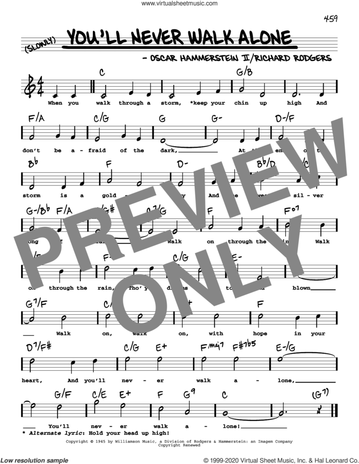 You'll Never Walk Alone (High Voice) (from Carousel) sheet music for voice and other instruments (high voice) by Richard Rodgers, Oscar II Hammerstein and Rodgers & Hammerstein, intermediate skill level