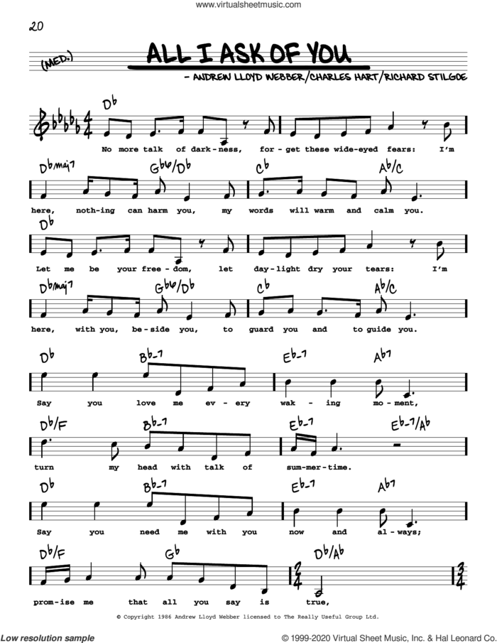 All I Ask Of You (from Phantom Of The Opera) (High Voice) sheet music for voice and other instruments (high voice) by Andrew Lloyd Webber, Charles Hart and Richard Stilgoe, intermediate skill level