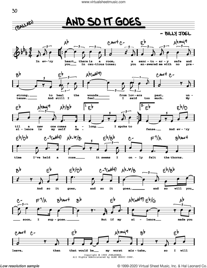 And So It Goes (High Voice) sheet music for voice and other instruments (high voice) by Billy Joel, intermediate skill level
