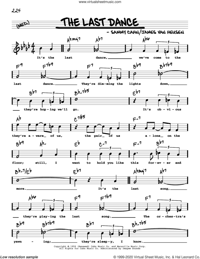 The Last Dance (High Voice) sheet music for voice and other instruments (high voice) by Frank Sinatra, Jimmy Van Heusen and Sammy Cahn, intermediate skill level