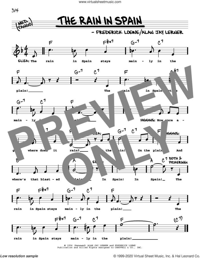 The Rain In Spain (from My Fair Lady) (High Voice) sheet music for voice and other instruments (high voice) by Alan Jay Lerner, Frederick Loewe and Lerner & Loewe, intermediate skill level