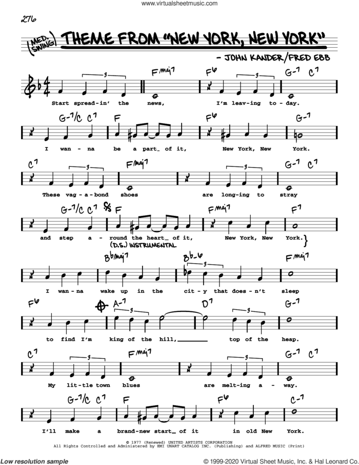 Theme From 'New York, New York' (High Voice) sheet music for voice and other instruments (high voice) by Frank Sinatra, Fred Ebb and John Kander, intermediate skill level
