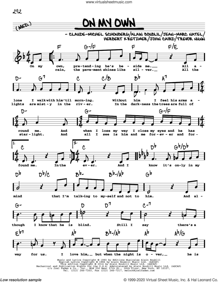 On My Own (from Les Miserables) (High Voice) sheet music for voice and other instruments (high voice) by Alain Boublil, Boublil and Schonberg, Claude-Michel Schonberg, Herbert Kretzmer, Jean-Marc Natel, John Caird and Trevor Nunn, intermediate skill level