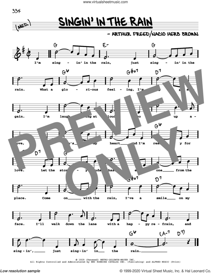 Singin' In The Rain (High Voice) sheet music for voice and other instruments (high voice) by Nacio Herb Brown and Arthur Freed, intermediate skill level