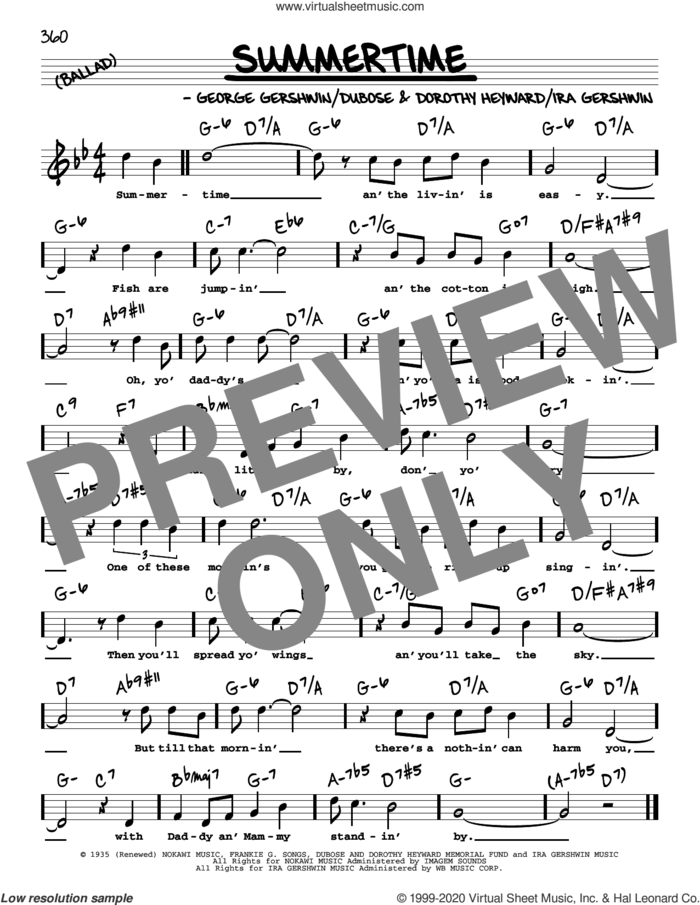 Summertime (High Voice) (from Porgy and Bess) sheet music for voice and other instruments (high voice) by George Gershwin, Dorothy Heyward, DuBose Heyward, George Gershwin & Ira Gershwin and Ira Gershwin, intermediate skill level