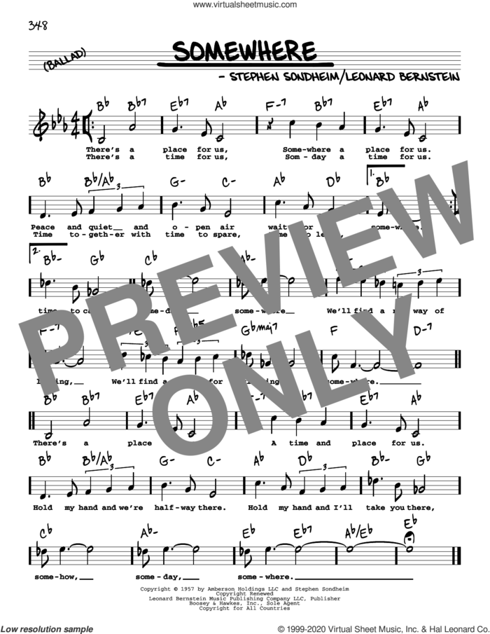 Somewhere (High Voice) (from West Side Story) sheet music for voice and other instruments (high voice) by Stephen Sondheim, Leonard Bernstein and Stephen Sondheim & Leonard Bernstein, intermediate skill level