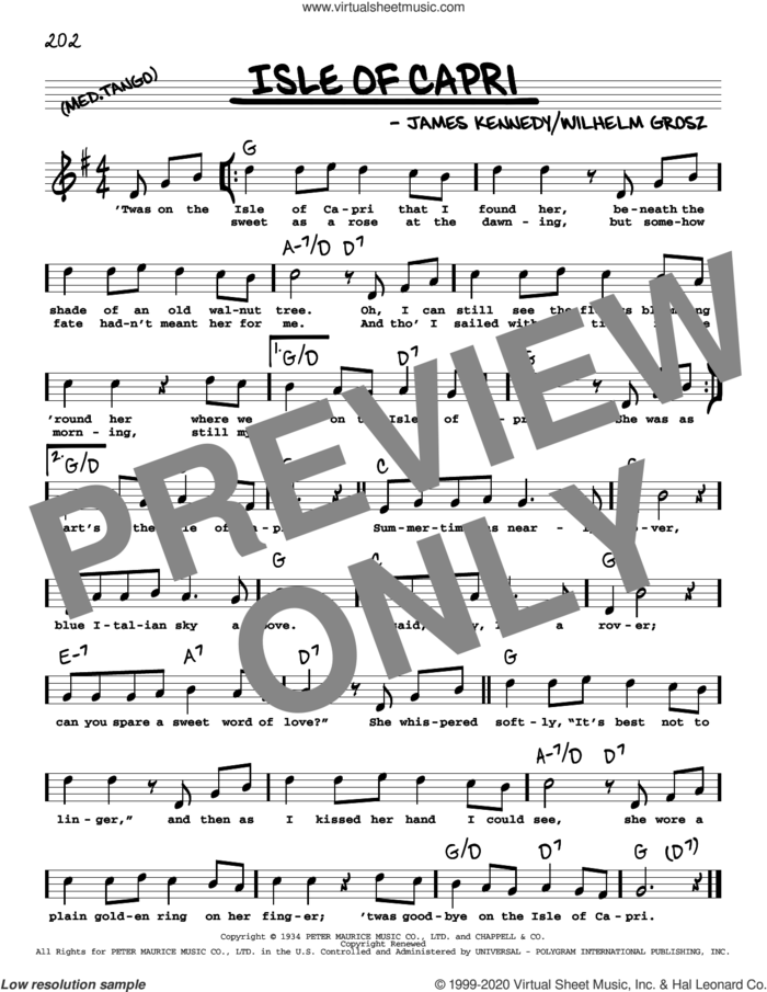 Isle Of Capri (High Voice) sheet music for voice and other instruments (high voice) by Frank Sinatra, James Kennedy and Will Grosz, intermediate skill level