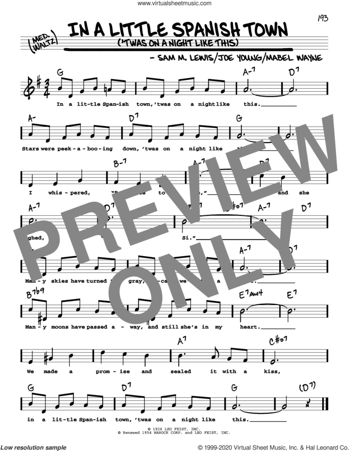 In A Little Spanish Town ('Twas On A Night Like This) (High Voice) sheet music for voice and other instruments (high voice) by Sam Lewis, Joe Young and Mabel Wayne, intermediate skill level