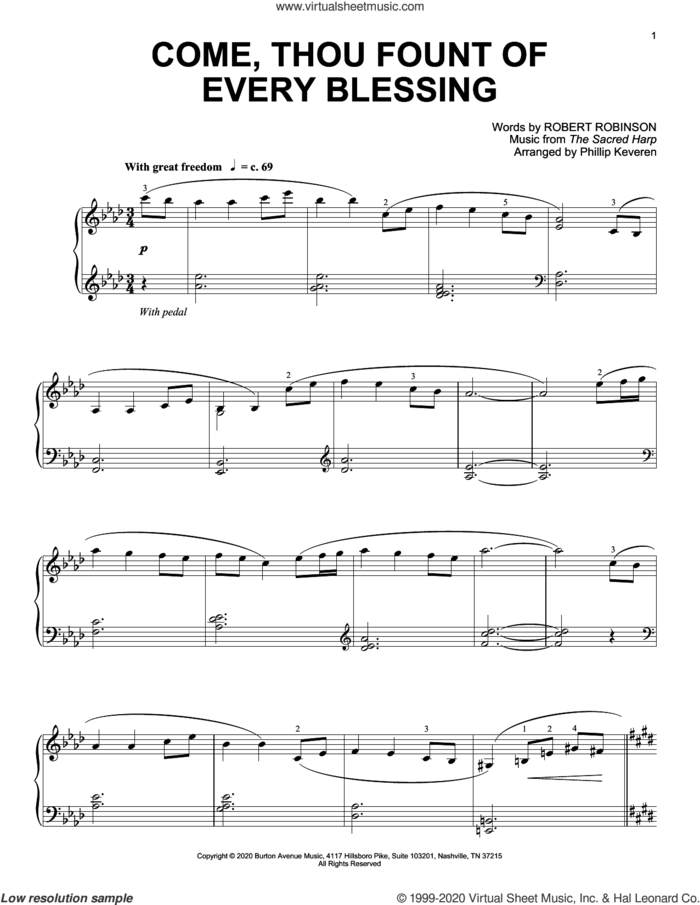 Come, Thou Fount Of Every Blessing (arr. Phillip Keveren) sheet music for piano solo by The Sacred Harp, Phillip Keveren and Robert Robinson, intermediate skill level
