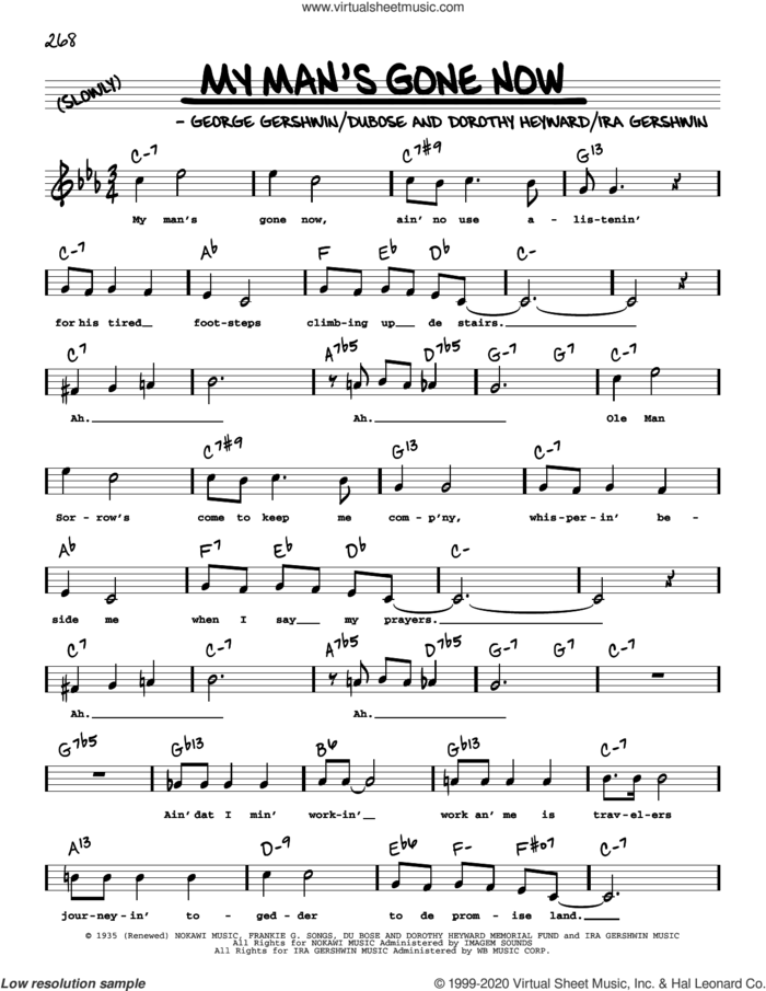 My Man's Gone Now (High Voice) sheet music for voice and other instruments (high voice) by George Gershwin, Dorothy Heyward, DuBose Heyward and Ira Gershwin, intermediate skill level