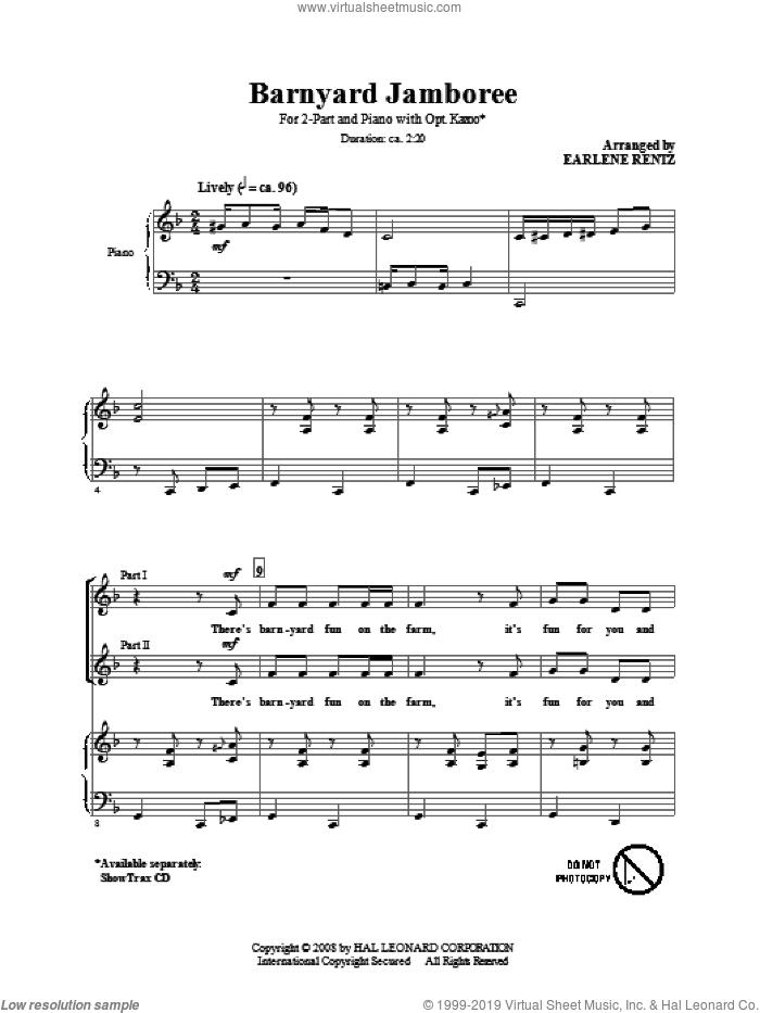Barnyard Jamboree sheet music for choir (2-Part) by Earlene Rentz, intermediate duet
