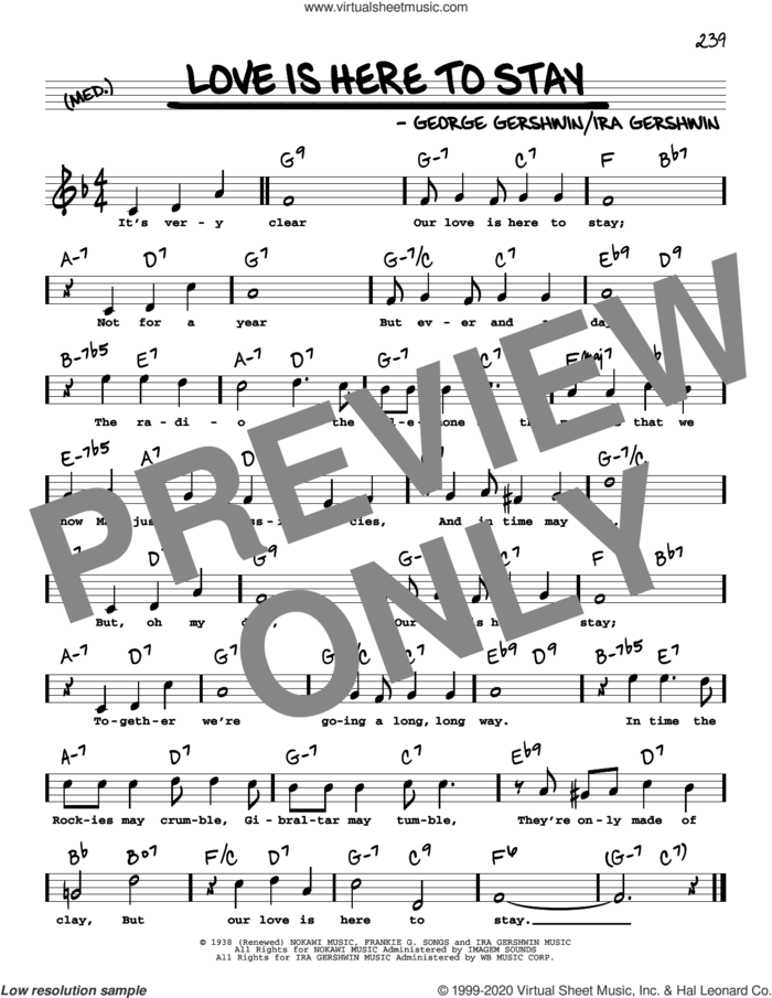 Love Is Here To Stay (High Voice) sheet music for voice and other instruments (high voice) by George Gershwin and Ira Gershwin, intermediate skill level