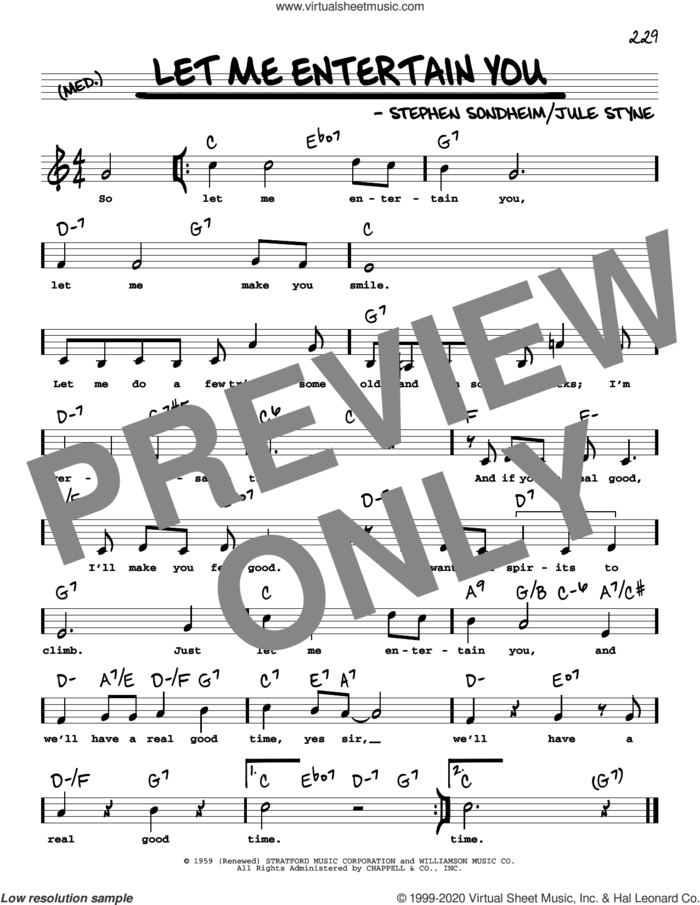 Let Me Entertain You (High Voice) sheet music for voice and other instruments (high voice) by Stephen Sondheim and Jule Styne, intermediate skill level