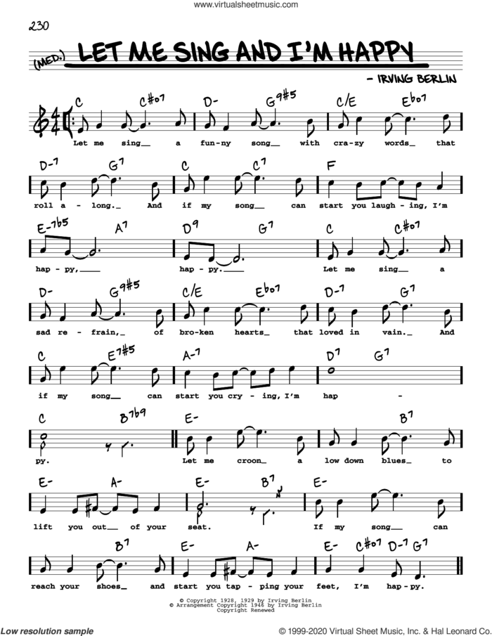 Let Me Sing And I'm Happy (High Voice) sheet music for voice and other instruments (high voice) by Irving Berlin, intermediate skill level