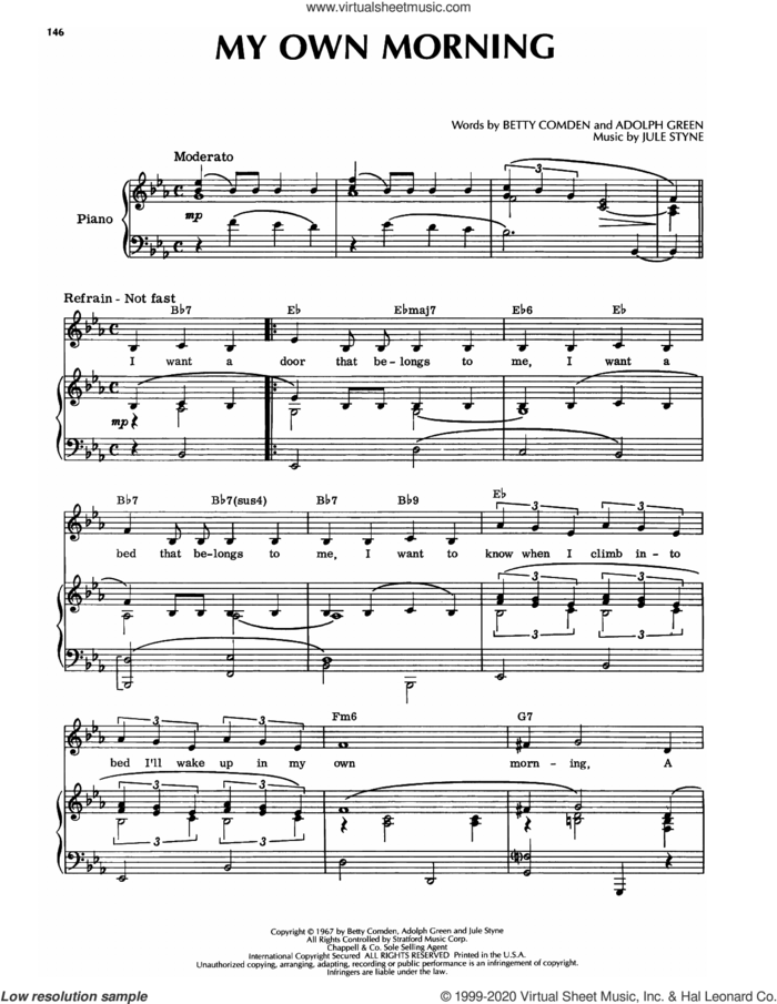 My Own Morning (from Hallelujah, Baby!) sheet music for voice and piano by Jule Styne, Adolph Green and Betty Comden, intermediate skill level
