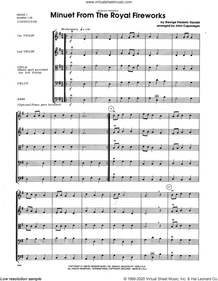 Minuet From The Royal Fireworks (arr. John Caponegro) (COMPLETE) sheet music for orchestra by George Frideric Handel and John Caponegro, intermediate skill level