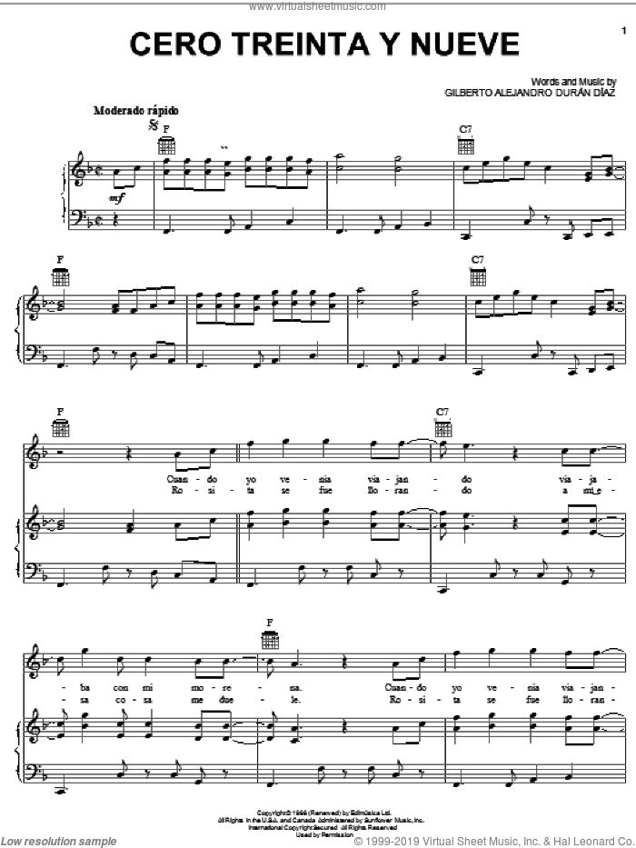 Cero Treinta Y Nueve sheet music for voice, piano or guitar by Gilberto Alejandro Duran Diaz, intermediate skill level