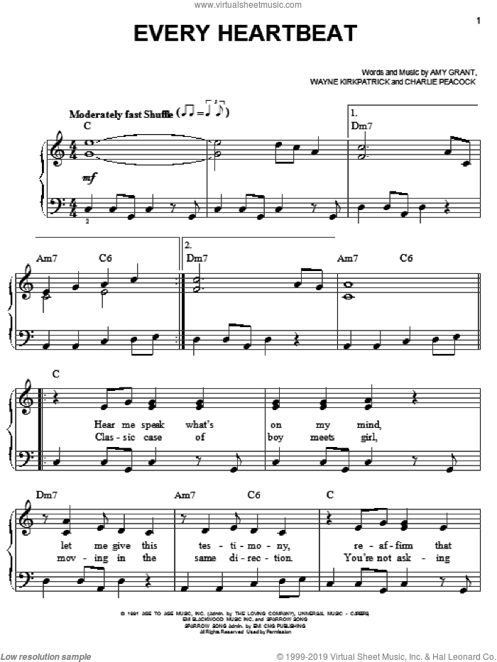 Every Heartbeat sheet music for piano solo by Amy Grant, Charlie Peacock and Wayne Kirkpatrick, easy skill level