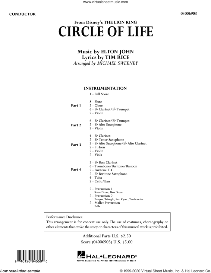 Circle of Life (from The Lion King) (arr. Michael Sweeney) (COMPLETE) sheet music for concert band by Elton John, Michael Sweeney and Tim Rice, intermediate skill level