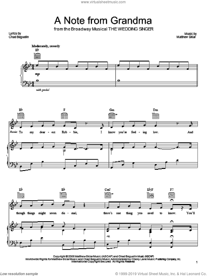 A Note From Grandma sheet music for voice, piano or guitar by Matthew Sklar, The Wedding Singer (Musical) and Chad Beguelin, wedding score, intermediate skill level