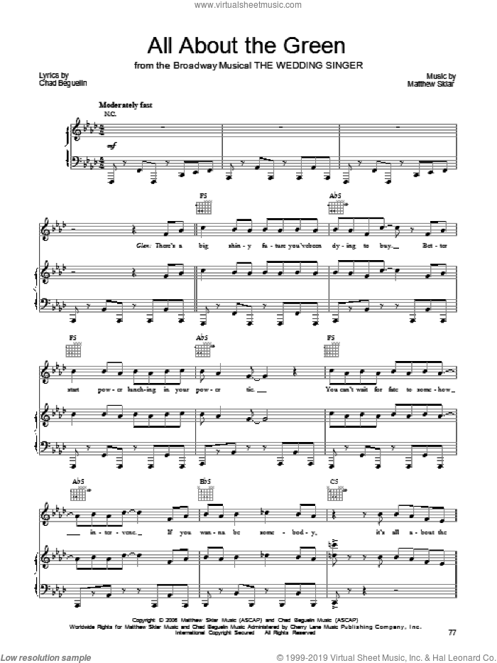 All About The Green sheet music for voice, piano or guitar by Matthew Sklar, The Wedding Singer (Musical) and Chad Beguelin, wedding score, intermediate skill level