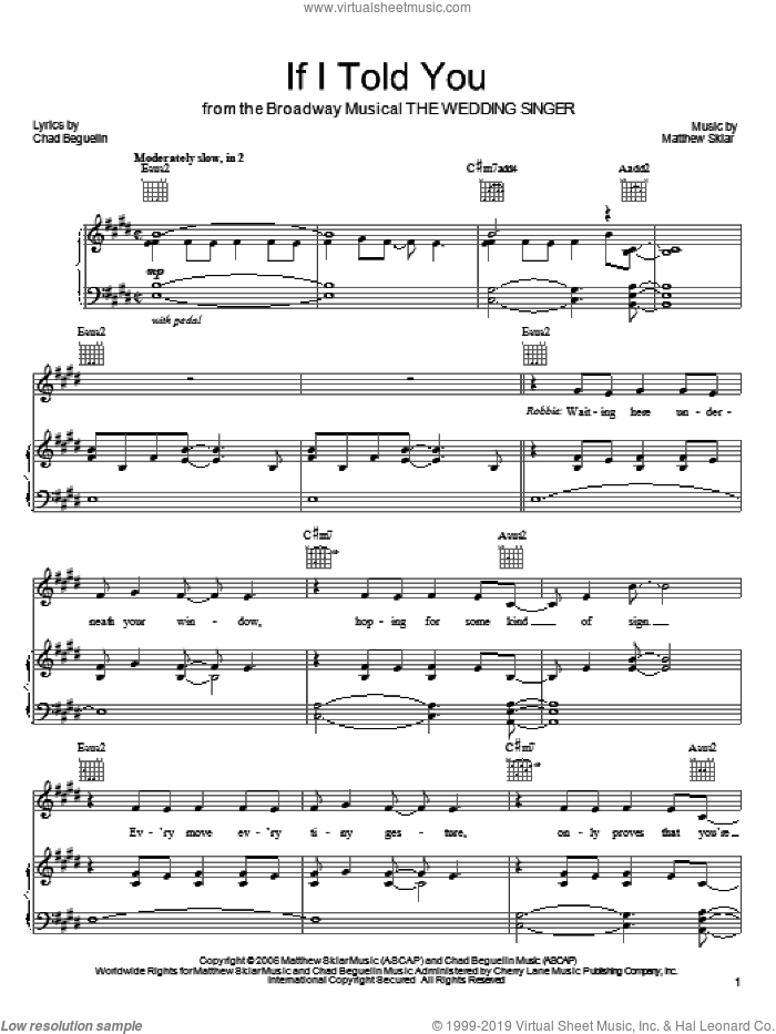 If I Told You sheet music for voice, piano or guitar by Matthew Sklar, The Wedding Singer (Musical) and Chad Beguelin, wedding score, intermediate skill level