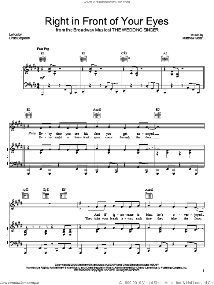 Right In Front Of Your Eyes sheet music for voice, piano or guitar by Matthew Sklar, The Wedding Singer (Musical) and Chad Beguelin, wedding score, intermediate skill level