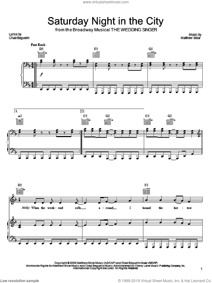 Saturday Night In The City sheet music for voice, piano or guitar by Matthew Sklar, The Wedding Singer (Musical) and Chad Beguelin, wedding score, intermediate skill level