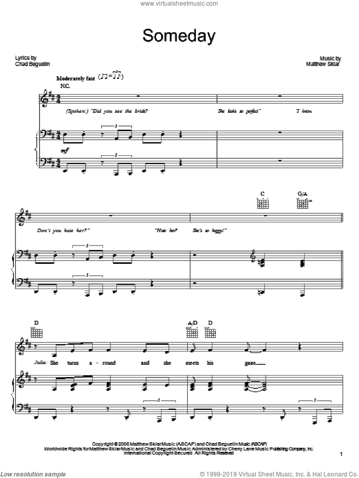 Someday sheet music for voice, piano or guitar by Matthew Sklar, The Wedding Singer (Musical) and Chad Beguelin, wedding score, intermediate skill level
