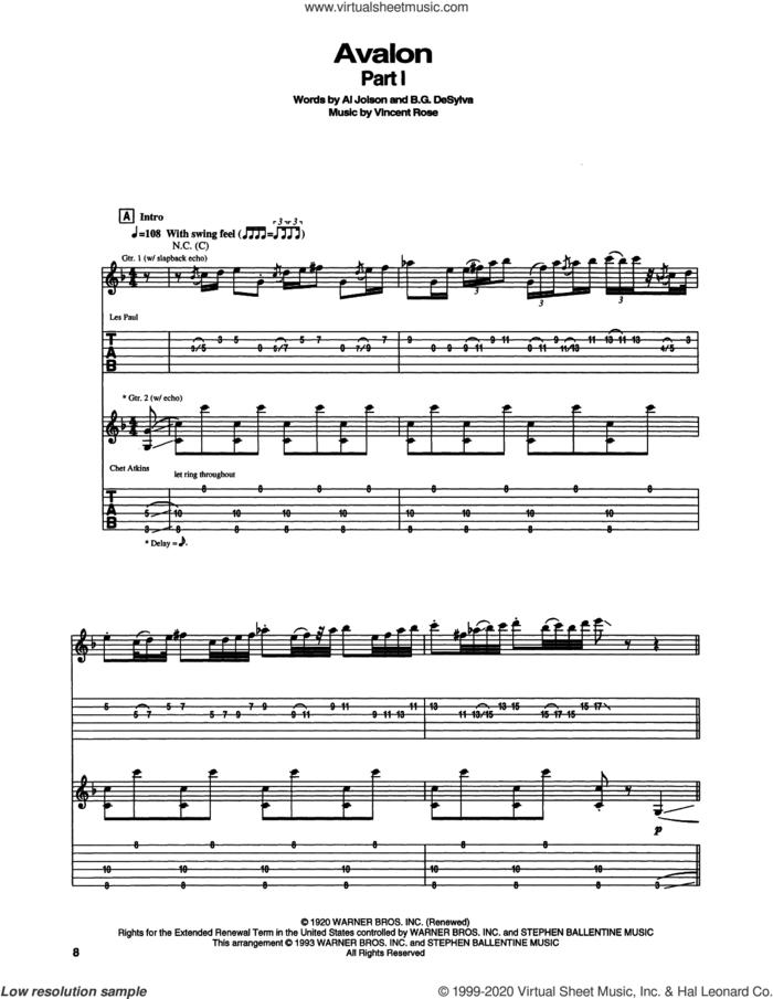 Avalon sheet music for guitar (tablature) by Chet Atkins, Al Jolson, Buddy DeSylva and Vincent Rose, intermediate skill level