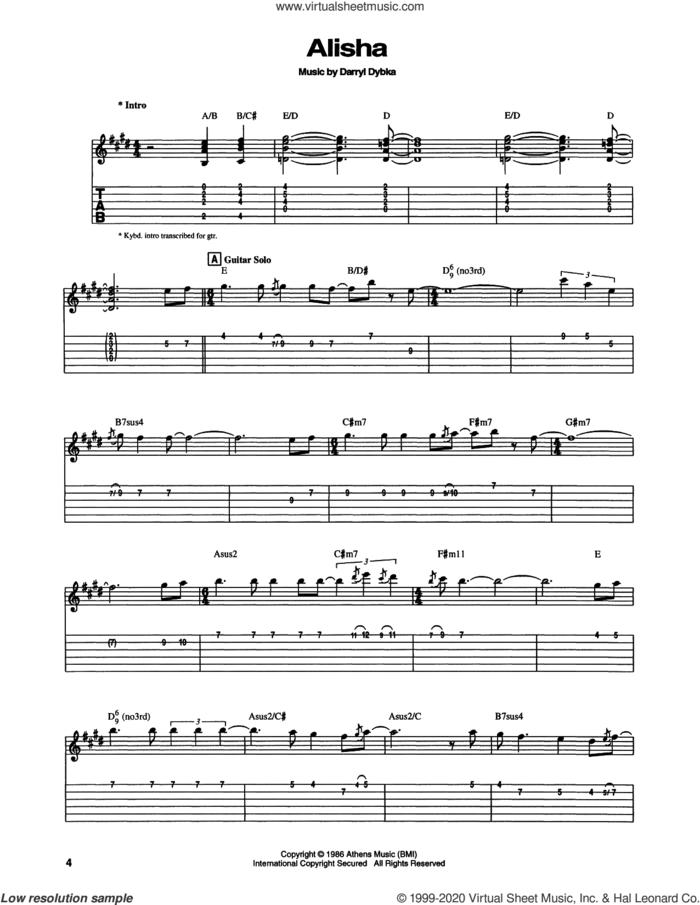 Alisha sheet music for guitar (tablature) by Chet Atkins and Darryl Dybka, intermediate skill level