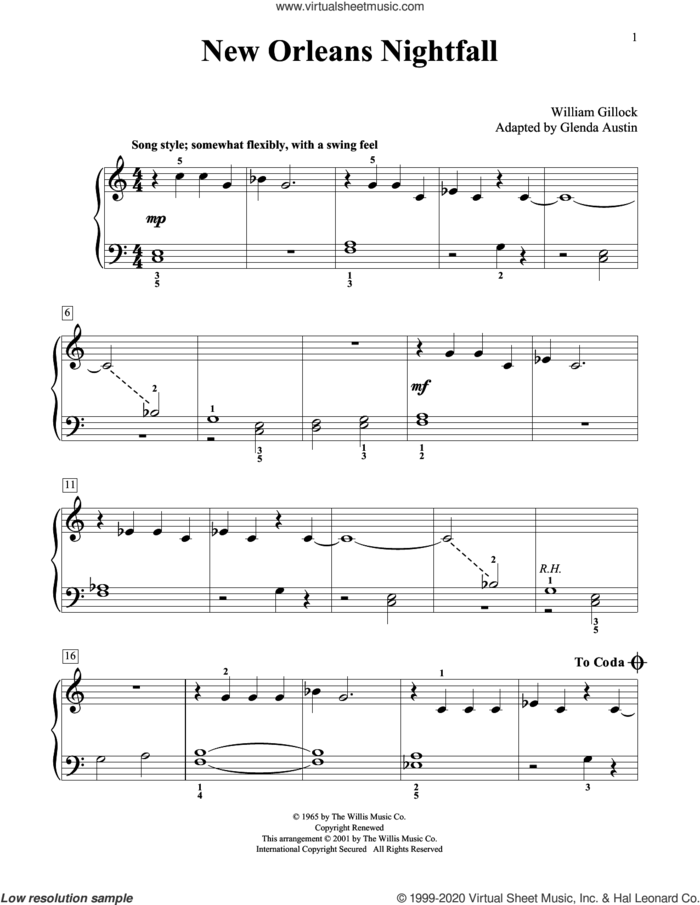 New Orleans Nightfall (Simplified) (adapted by Glenda Austin) sheet music for piano solo (elementary) by William Gillock and Glenda Austin, beginner piano (elementary)