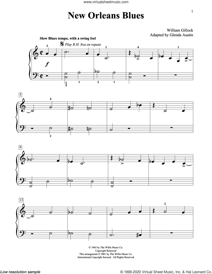 New Orleans Blues (Simplified) (adapted by Glenda Austin) sheet music for piano solo (elementary) by William Gillock and Glenda Austin, beginner piano (elementary)