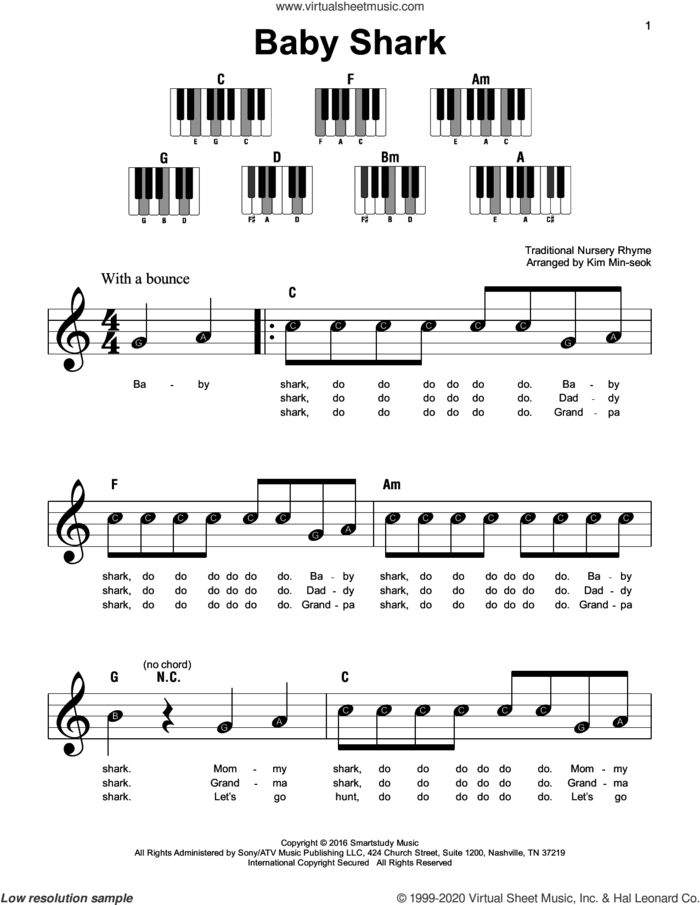 Baby Shark sheet music for piano solo by Pinkfong, Kim Min-soek (arr.) and Traditional Nursery Rhyme, beginner skill level
