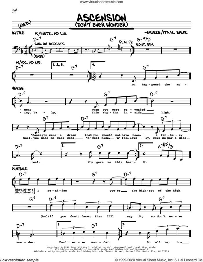 Ascension (Don't Ever Wonder) sheet music for voice and other instruments (real book) by Kate Bush, Itaal Shur and Musze, intermediate skill level